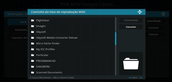 Configurar IPTV, passo url do ficheiro .m3u