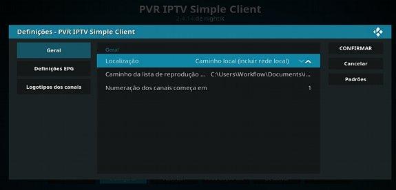 Configurar IPTV passo endereço local