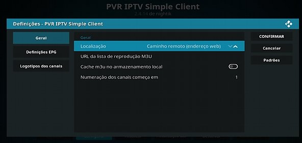 Configurar IPTV, passo endereço remoto