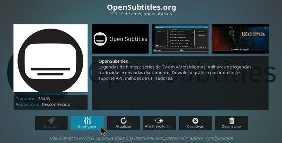 Configurar o serviço OpenSubtitles de legendas, no Kodi