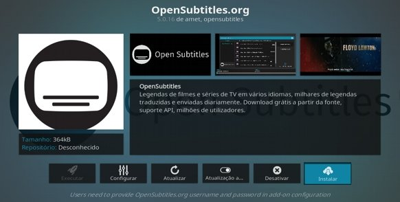 Faça Instalar, a partir do OpenSubtitles