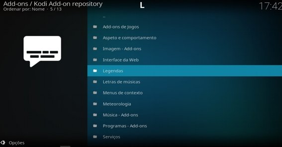 Instalar legendas a partir do repositório do Kodi
