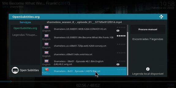 Descarregar manualmente legendas, no Kodi
