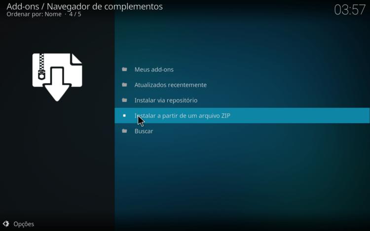 Kodi - Instalar a partir de um ficheiro zip
