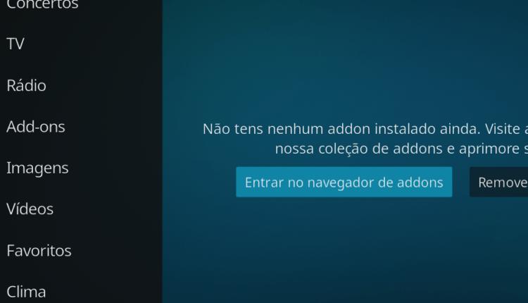 Interface para instalar o add-on que limpará o cache do Kodi
