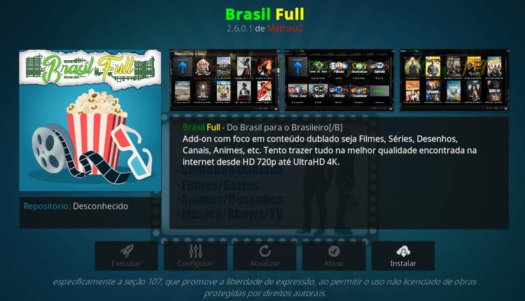 Instalar Brasil Full Addon no Kodi