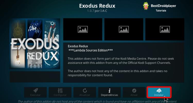 Instalar o Addon Exodus Redux do Kodi