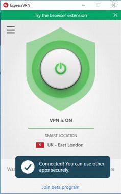 ExpessVPN ligado a uma das muitas localizações possíveis. Neste caso ligado a Londres