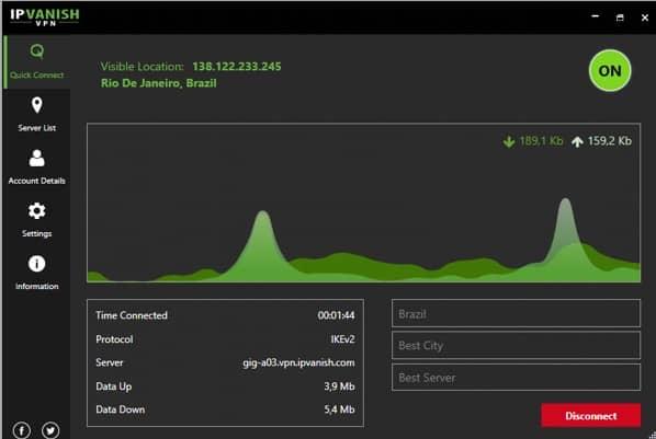IPVanish ligado a uma das muitas cidades do Mundo. Neste caso Rio de Janeiro no Brasil