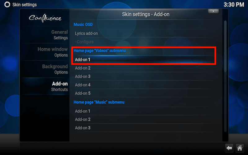 Kodi addon icon shortcut