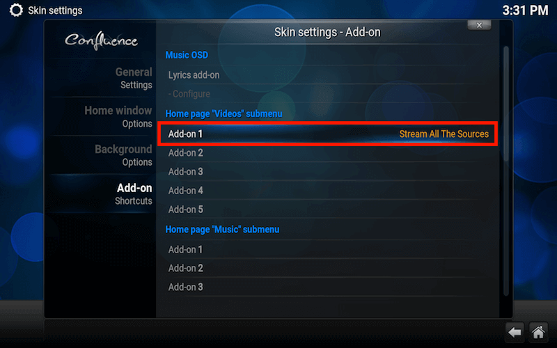 kodi shortcut list