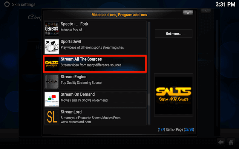 Salts shortcut Kodi videos