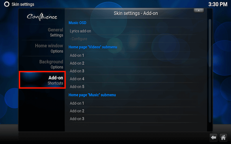 Kodi add-on shortcuts