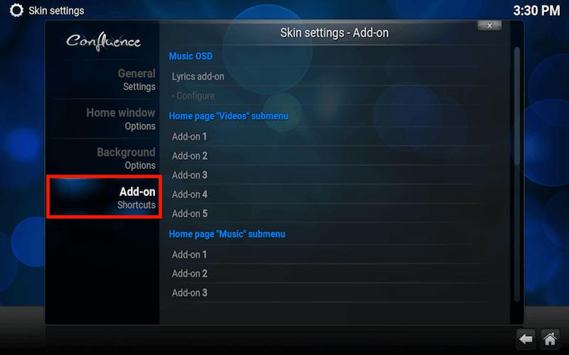 Kodi add-on shortcuts
