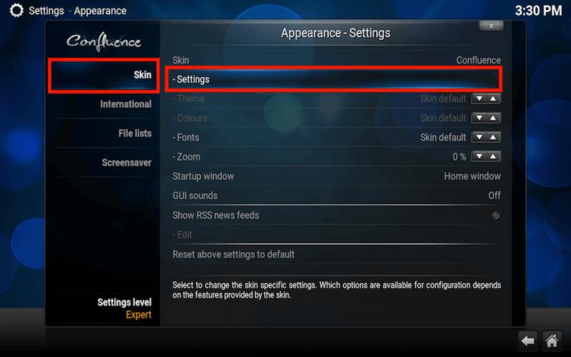Kodi Skin Settings