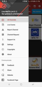 Live NetTV Nav Screenshot