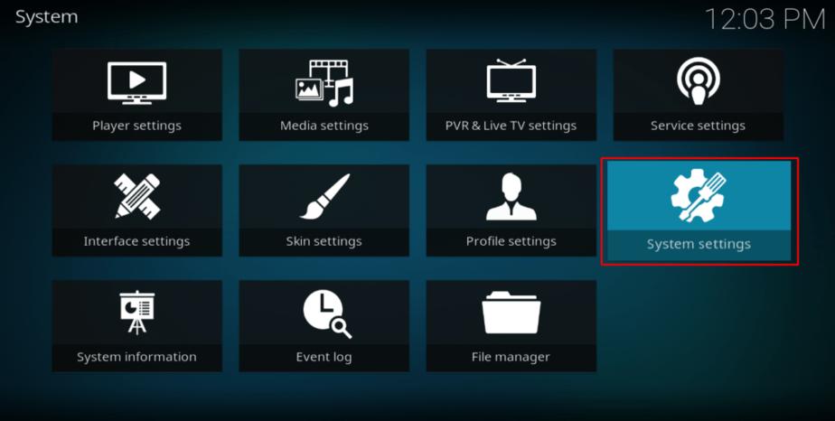 kodi system settings