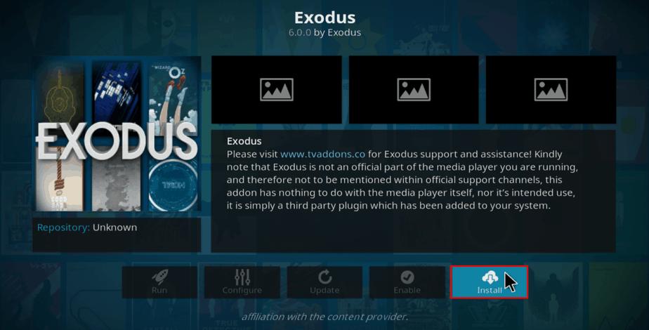 exodus Installation