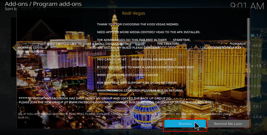 Dismiss Kodi Vegas