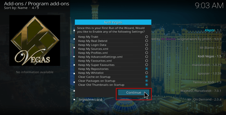 Customize Kodi Vegas