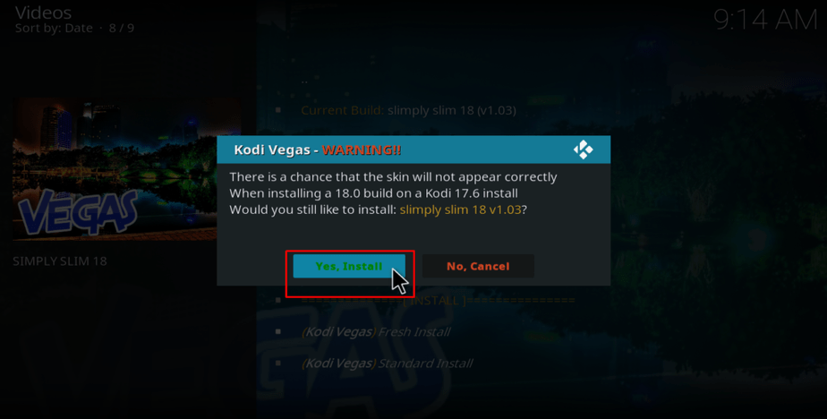 kodi vegas warning