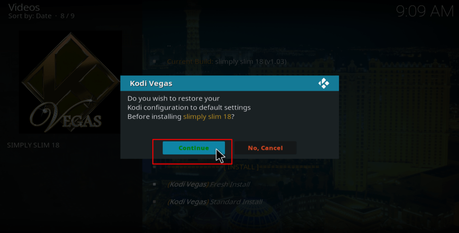 restore kodi vegas configuration