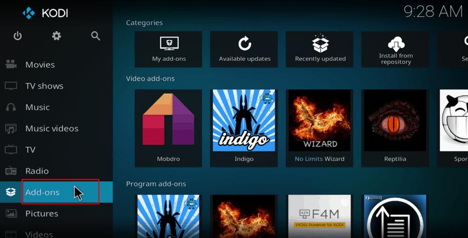 Kodi home screen addon