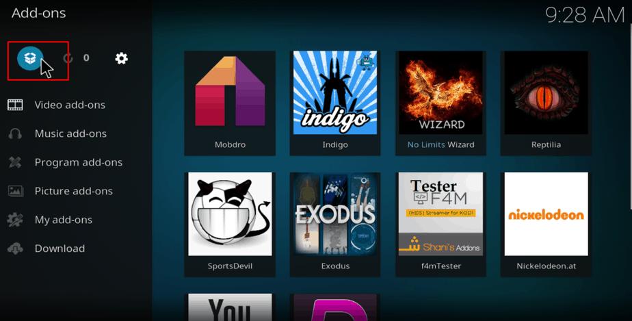 Kodi open box icon