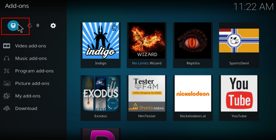 Kodi open box icon