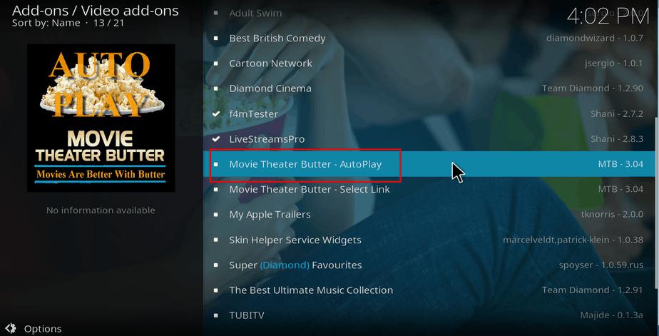 Select Movie Theater Butter Addon on Kodi