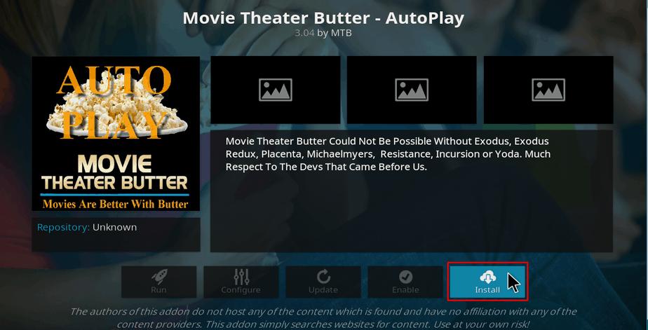 Install Movie Theater addon on Kodi