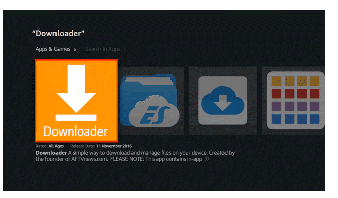 Select Downloader from the Apps list