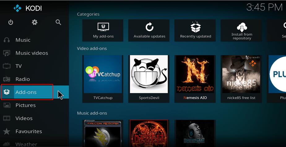 Home screen addons menu option on Kodi