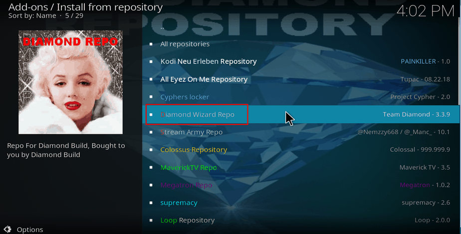 Select Diamond Repo on Kodi's Repos list