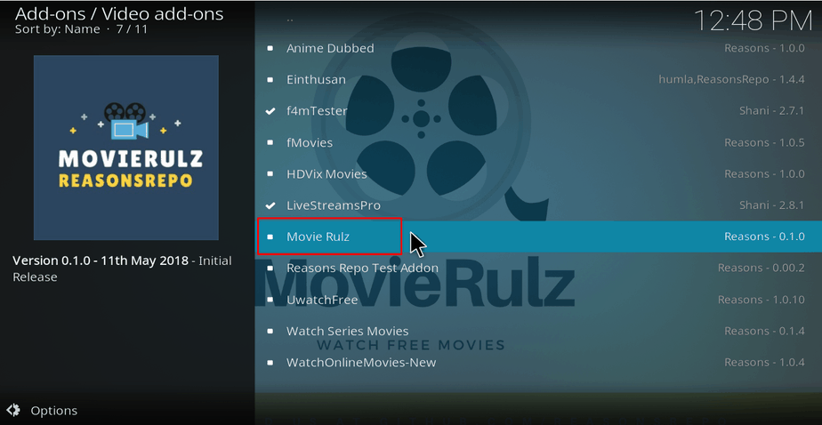 Select Movie Rulz from the Addons list on Kodi