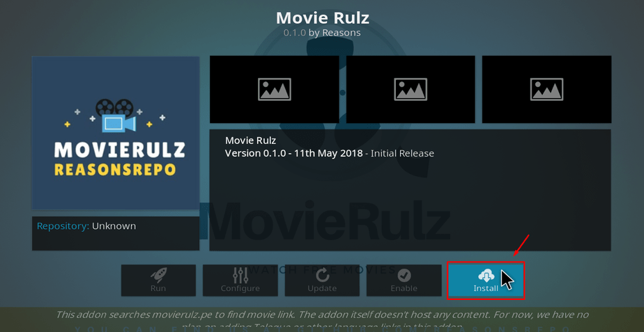 On Movie Rulz screen, hit Install