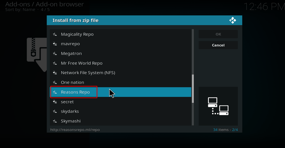 Select Reasons Repo on Kodi