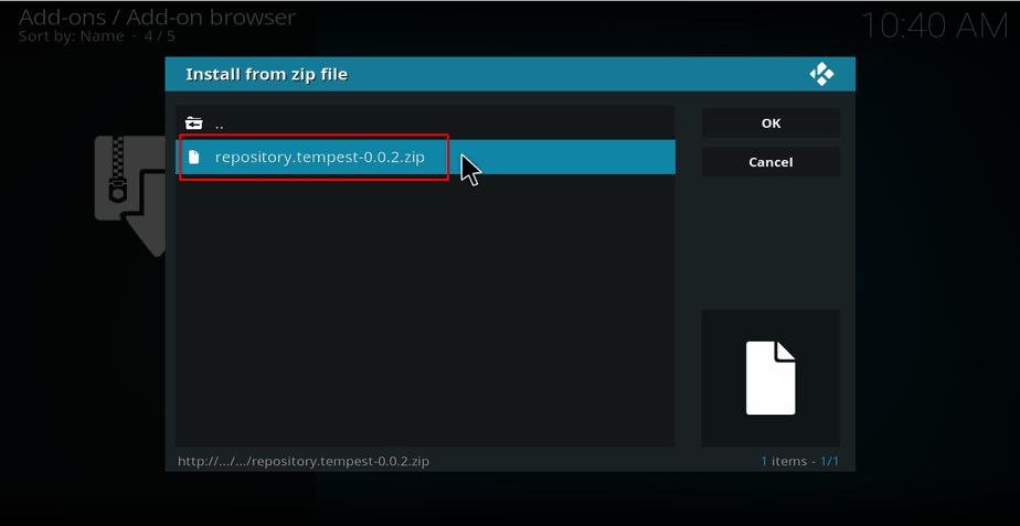 Select zip file