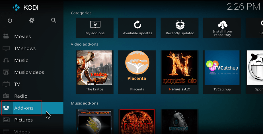Select Add-ons from the menu on Kodi