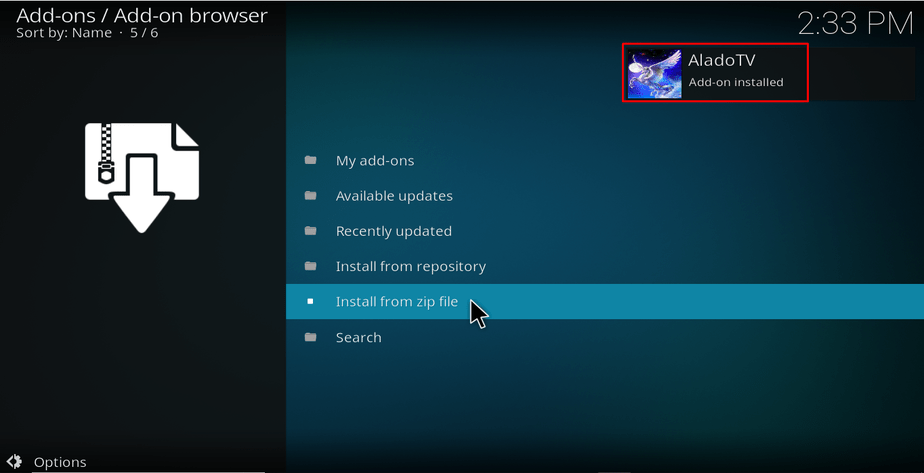 Wait for the successful Alado Addon TV install message on Kodi