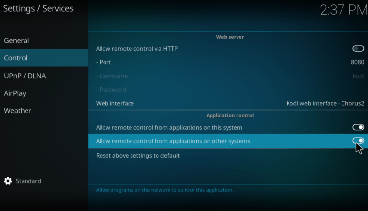 Allow remote control from applications on other systems on Kodi