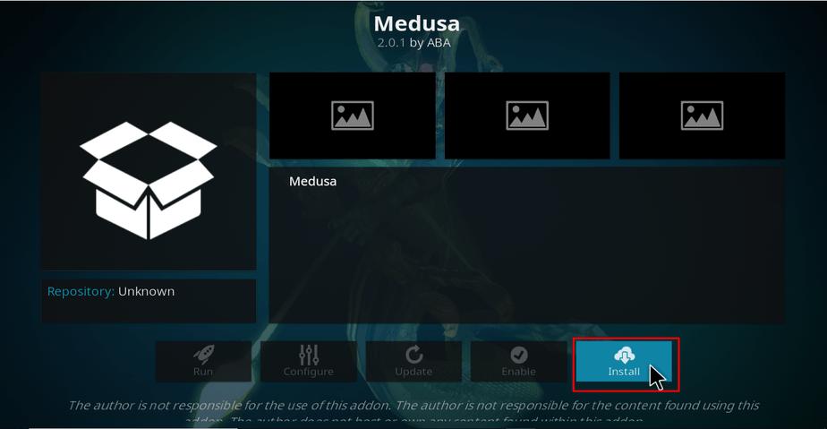 Hit Install to install Medusa Addon on Kodi