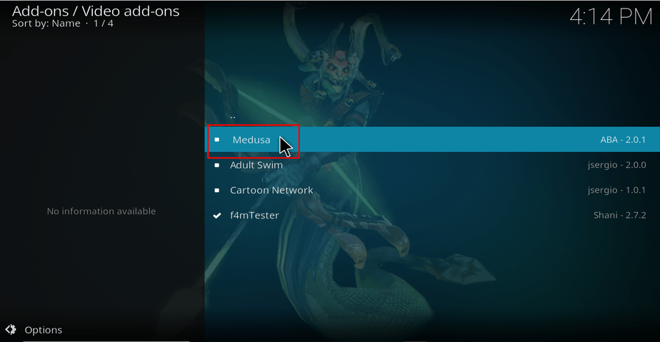 Select Medusa Addon to install on Kodi