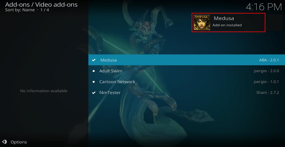 Successful message on Medusa addon installed on Kodi