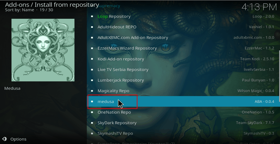 Select Medusa Repository on Kodi