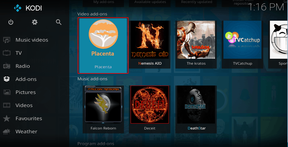 Select a addon from addon's browser on Kodi