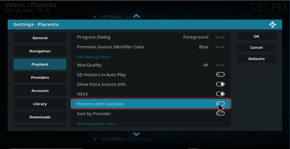 Select Hosters with Captchas on Kodi