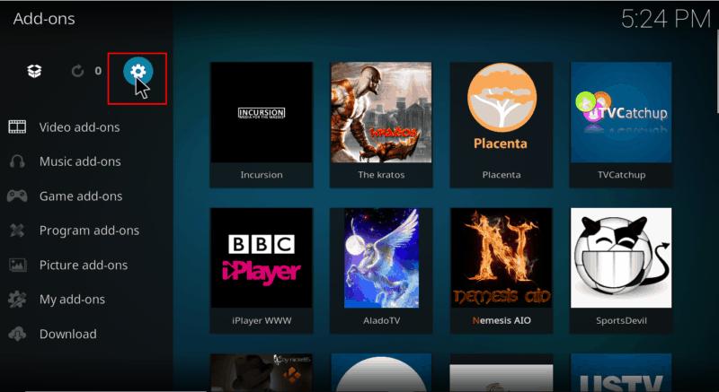 Select Settings on menu Kodi's interface