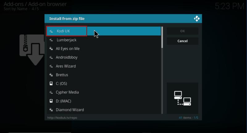 Select the repo's file on Kodi
