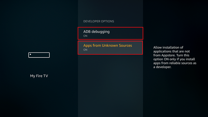 Turn on Apps from Unknown Sources on Firestick